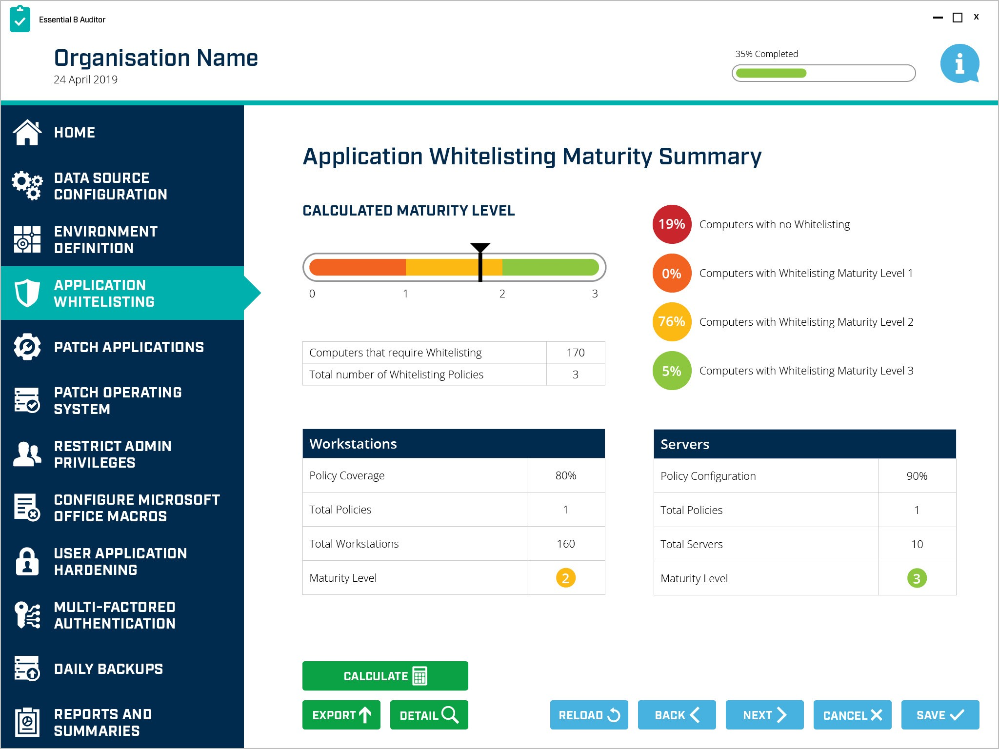 Essential 8 Auditor - Application Whitelisting summary
