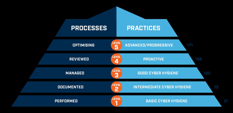 an illustration of CMMC risk management framework levels, processes and practices