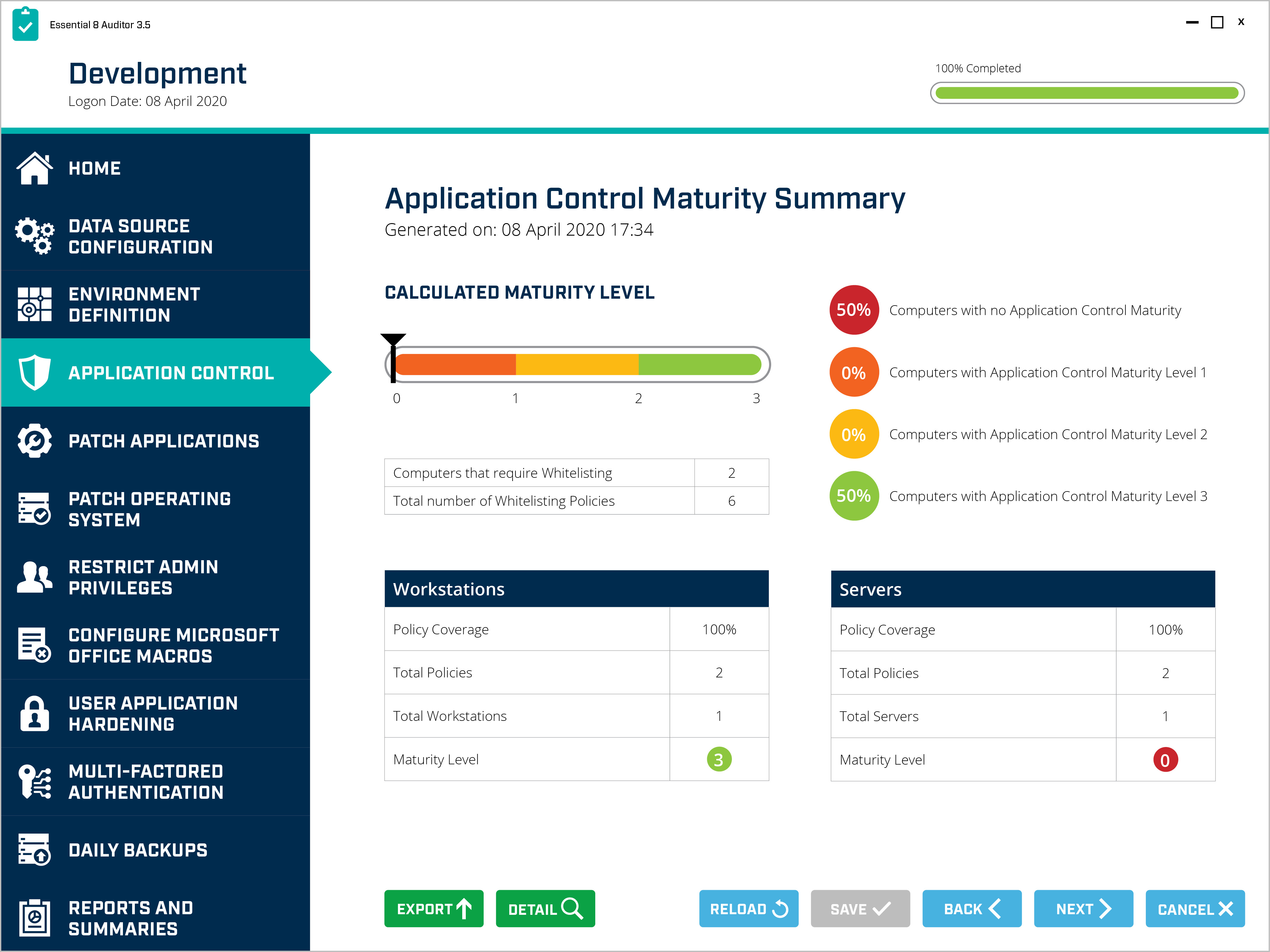 Security control performance metrics generated by IT auditing tool