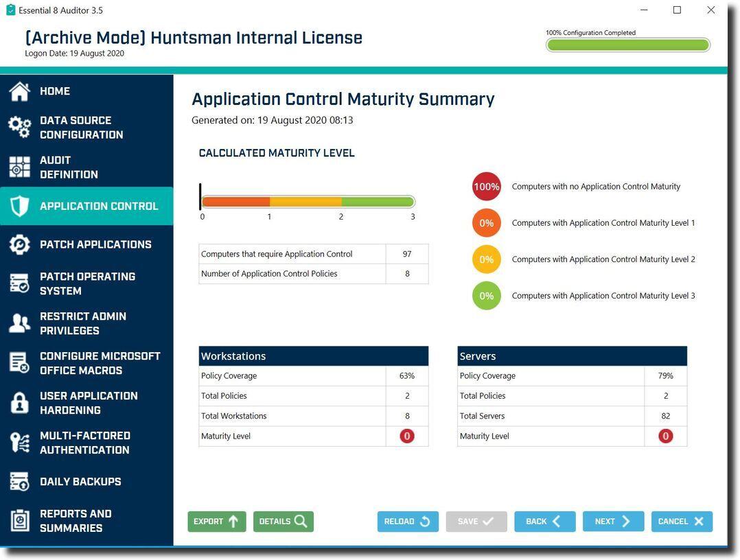 Essential 8 Auditor Application Control Maturity Summary screen