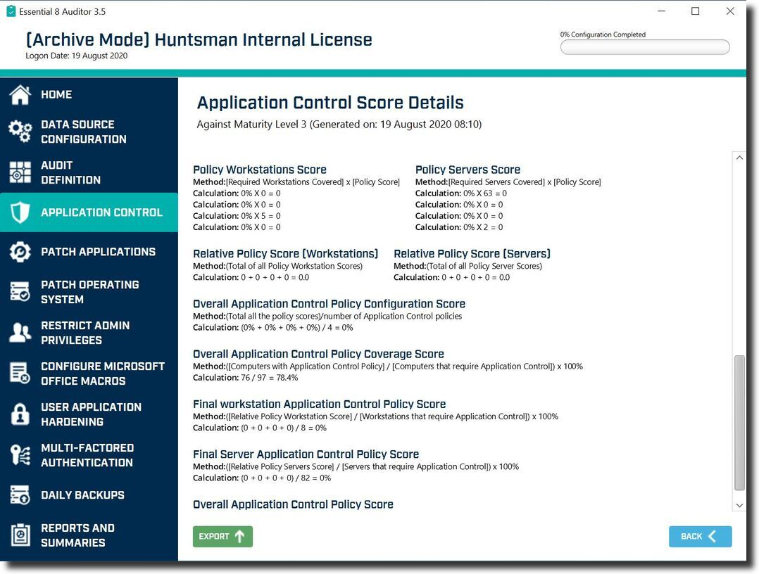 Essential 8 Auditor Application Control Score Details screen